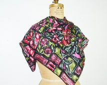 Jeanne Lanvin Castillo silk scarf-hand print scarf abstract 40s scarf -pink flowers scarf
