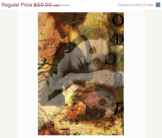 "1/2 PRICE SALE Red's Dream - girl resting on skull - digital art in 11"" x 14"" mat"