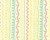 SALE Chance of Flowers fabric by Sandy Gervais for Moda Fabrics- Chance of Flowers Squiggle Stripe in Sun, 1 yard or by the yard
