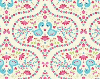 Flutter berries fabric by Riley Blake and Fabric Shoppe- Plume in Cream, Fat Quarter, Half Yards or Yardage, Free Shipping Available