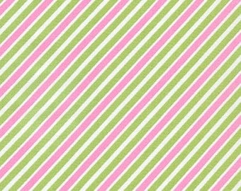 Sealed With a Kiss fabric by Robert Kaufman and Fabric Shoppe - Remix Bias Stripe in Lime- You Choose the Cut, Free Shipping Available