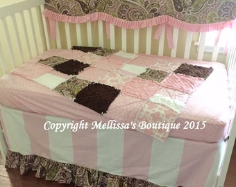 Custom Designer Pink & Brown Paisley Scalloped Ruffled Crib Rail Boutique Bumperless Crib Nursery Bedding Set READY To SHIP