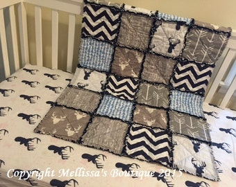 Custom Rustic & MOD Deer Palette Arrows and Woodgrain Boutique Designer 2 Piece Crib Bedding Set MADE To ORDER