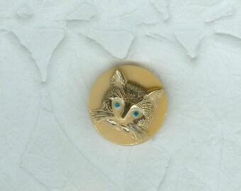 Czech Glass Button Caramel Hand Painted Gold Green Eyed Cat Face