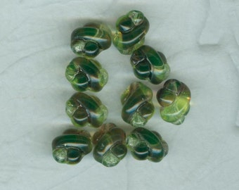 10 Vintage Olive Green  German Fancy Twist Glass Beads  10x8 mm