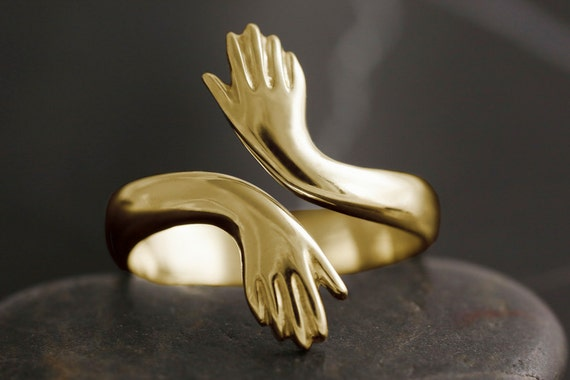 Adjustable healing hand ring in solid gold -  friendship, healer, mother, nurse, reiki, double hand