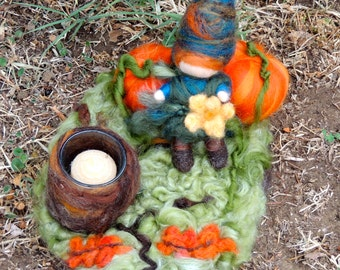 Your Gnome Pumpkin Candle Holder  - Needle felted Autumn Centerpiece  soft sculpture  Tomptin  Elf Waldorf Inspired