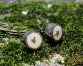 MINIATURE Hickory Twig Rustic Wooden Stud Earrings by Tanja Sova