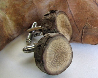 Quercus - Rustic Oak Twig Wooden Cuff Links by Tanja Sova