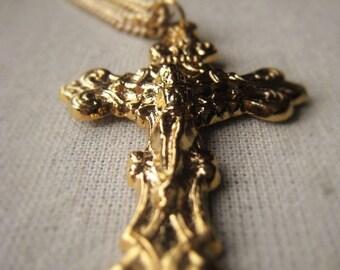 Gold Crucifix Necklace Ornate Religious Cross Pendant Item No. 4177