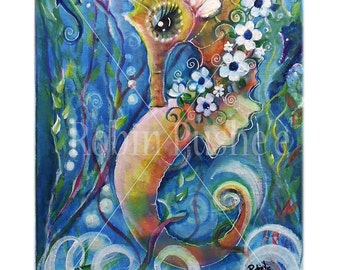 Original, Whimsical,  Painting on Canvas, Decorated Sea Horse, 9x12