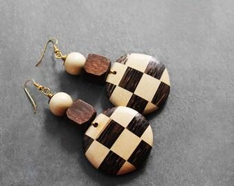 Wood Earrings, Statement Earrings, Big Wood Earrings, African Earrings, Checker Board, For Her, Checker Board Wood Earrings