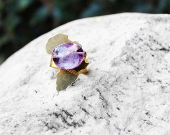 Africa Ring, Natural Stone Ring, Wire Wrapped Ring, Statement Ring, Amethyst Stone Ring, Brass Ring, Purple, Mama Africa Amethyst Brass Ring
