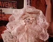 Sleeping baby Sha Bebe. Original Sha Bebe Cloth Doll Made by Cajun Doll Artist, Mary Lynn Plaisance in Louisiana. Art doll collectibles.