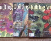 Lot 3 issues Quilting Arts Magazine, 8, 9, 10, 2002-2003, excellent condition