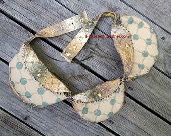 SALE Utility Burn Festival Belt Bag. Green Gold Fabric (BAG124)