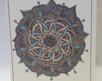 Hand Drawn Spring And Summer Colors Mandala Greeting Cards - Note Cards - Blank - Choose Quantity - Coose Style - With Envelopes
