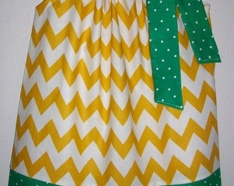 Pillowcase Dress Baylor Dress Chevron Dress Yellow and Green Football Game Day Dress Green Bay Packers girls dresses Baylor Bears College