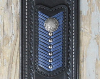 Indian Motorcycle Leather Tank Panel-Strap, Blue Trim 2014-15 Chief