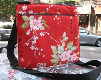 Red Plum Blossom Crossbody Shoulder Bag, Cotton Messenger Bag with Asian Floral Print