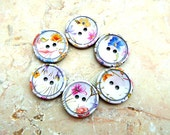 6 Plastic buttons colorful flower on white new buttons 23mm