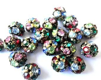 10 Vintage Swarovski crystal ball bead 10mm in brass metal setting colorful