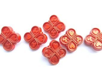 6 Vintage plastic buttons square shape beautiful dark orange 19mm