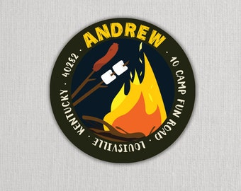 Bon-Fire Camping and Marshmallow Roasting Stickers . Cool Stickers for Return address, Favors, Treat Bags and Envelope Seals