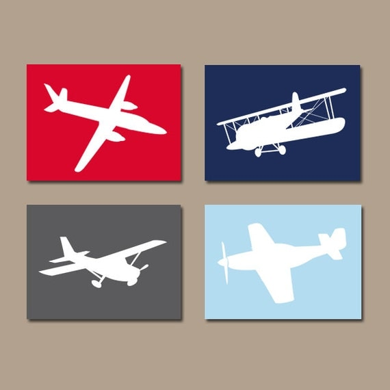 Airplane wall art canvas or prints boy nursery by trmdesign for Airplane wall decoration