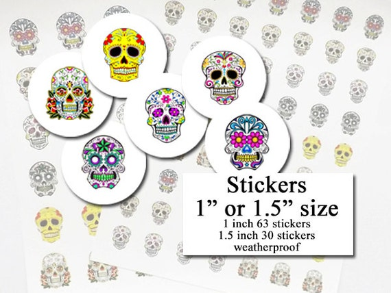 Day of the Dead STICKERS planner labels envelope seals dia de los muertos geek sugar skulls party favor pastel goth treat bag halloween fun