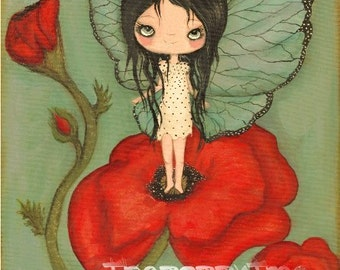 Butterfly Print Poppy Art Girl Red Poppies Wings Spring Raindrop Wall Art---Drenched