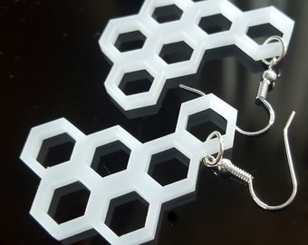 White Geometric Earrings Laser Cut Perspex Hexagon Honeycomb Sterling Silver Ear Wires