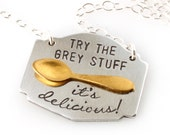 Beauty and the Beast Necklace - Try the Grey Stuff - Be Our Guest - Hand Stamped Necklace