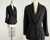 20% Off With Coupon Code! Vintage 90s Black Draped Shawl Collar Blazer Jacket / Size Medium