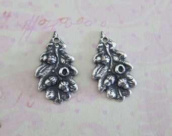 NEW 2 Tiny Silver Oak Leaf and Acorn Charms 3708