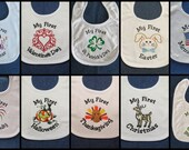 My First Holiday Set White Baby Bib -  9 Holidays and First Birthday - Custom Orders Welcome....