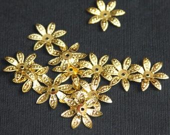 50 pcs gold finish filigree flower bead cap 17mm, gold  flower beadcap