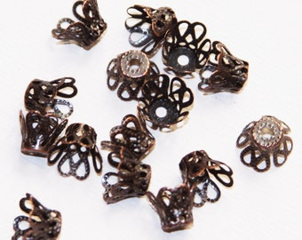 50 pcs of  antique copper bell flower filigree bead caps 8mm, red bronze  flower bead caps