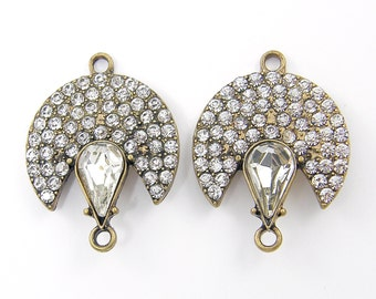Clear Rhinestone Antique Gold Jewelry Connector Pave Vintage Style Link Crescent Teardrop Finding for Earrings Bracelets Necklace |AN3-12|2