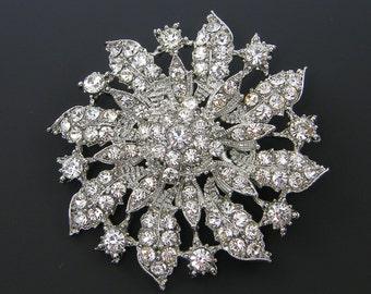 Rhinestone Flower Brooch Clear Crystal Lapel Pin Bridal Wedding Bouquet Bridesmaid Gift Favor Embellishment Ornate Bridal Accessory |LG6-6|1
