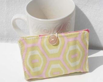 Tea Wallet, Tea Bag Holder, Fabric Wallet, Business Card Holder - Geometric Hexagons
