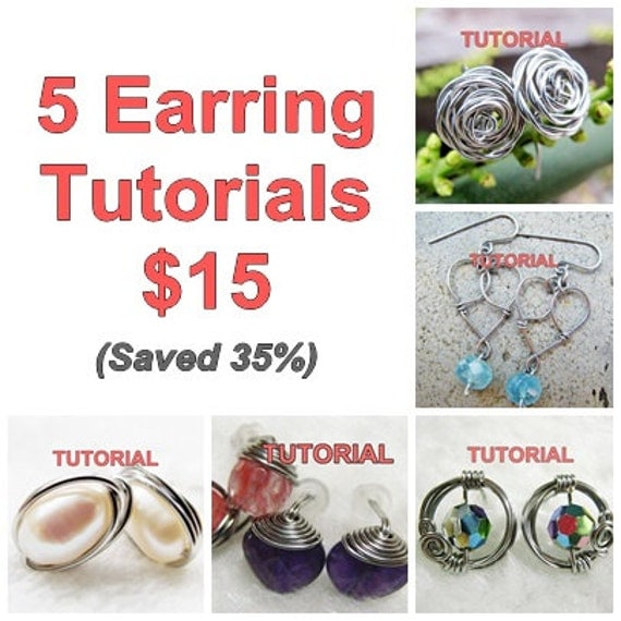5 Earring Tutorials Package at WireBliss $15