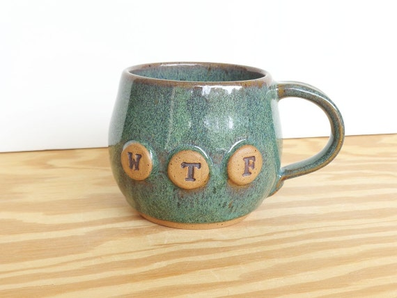 Pottery Mug in Sea Mist Glaze - Ceramic Coffee Cup - WTF