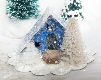 Vintage Putz Style Handmade Miniature Royal Blue Glitter Sugar House with Hand Cut Trees for Christmas Village or Ornament can be LIGHTED