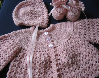 Baby Sweater Set, Crochet Sweater Bonnet Booties, Newborn Baby Girl, 0-3 Months, Reborn Doll, Pink, Baby Showe Gift, Christening, Baptism
