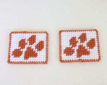 Paw Print Magnets, Clemson Tigers Inspired Paw Print Fridgies, Cat-Dog Paw Design Magnets, Pair of Refrigerator Magnets. Clemson Fan Gift