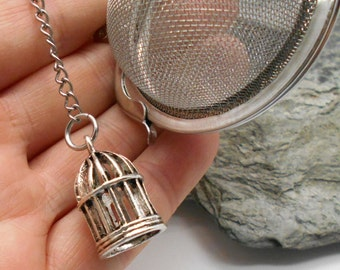 Tea Ball Infuser with Bird Cage Charm - Tea Ball, Tea Strainer, Tea Infuser, Loose Leaf Tea, Tea Brewing, Bird Cage, Bird