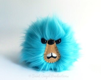 Teal Blue Monster Furry Blob Plush, Weird Fluffy Bright Handmade Fuzzy Plushie, READY TO SHIP