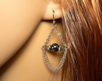 Pewter Silver Chain Chandelier Earrings, Hematite Earrings, Rustic Silver Chain Earrings, Black Diamond Crystal Chandelier Earrings (E683)
