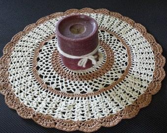 Doily, Milk Chocolate Brown Ecru, Handmade Crochet, 13 Inch Dresser Scarf Table Topper